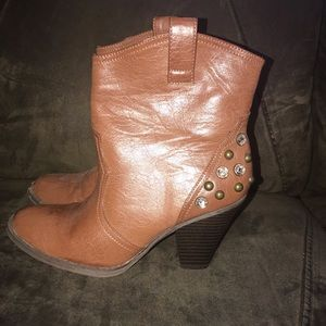 MIA Brown Studded above the ankle Boots sz 8